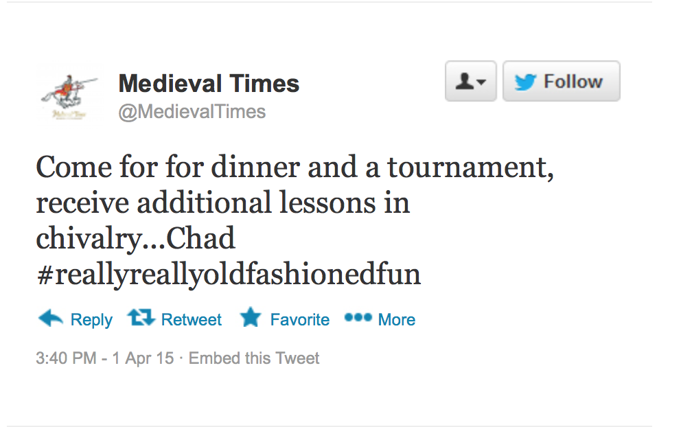 Medieval Times Twitter